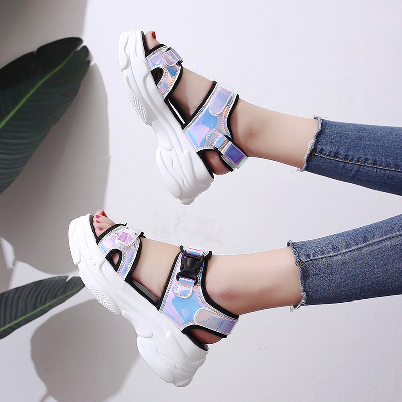 HTB1k QlM7voK1RjSZFDq6xY3pXaE Sexy Open toed Women Sport Sandals Wedge Hollow Out Women Sandals Outdoor Cool Platform Shoes Women Beach Summer Shoes 2019 New