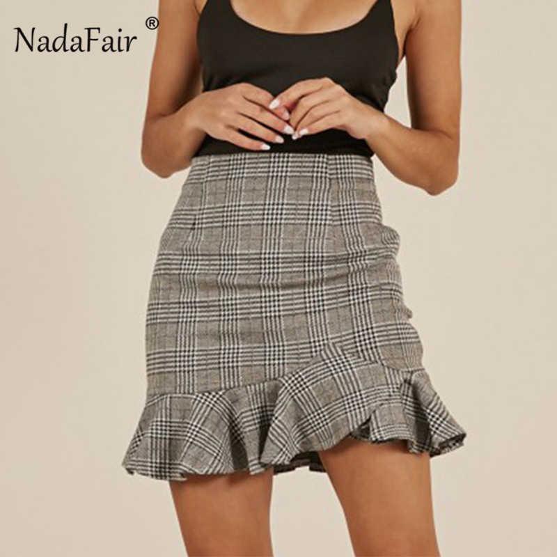 519e5df28f1b1b Nadafair High Waist Plaid Pencil Skirt Women Ruffles Buttom Zipper Summer  Skirt Elegant Bodycon Pleated Mini