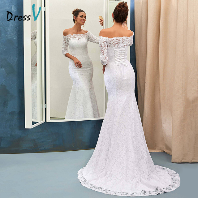Dressv Ivory Lace Mermaid Beach Wedding Dress Off The Shoulder Half Sleeves Court Train