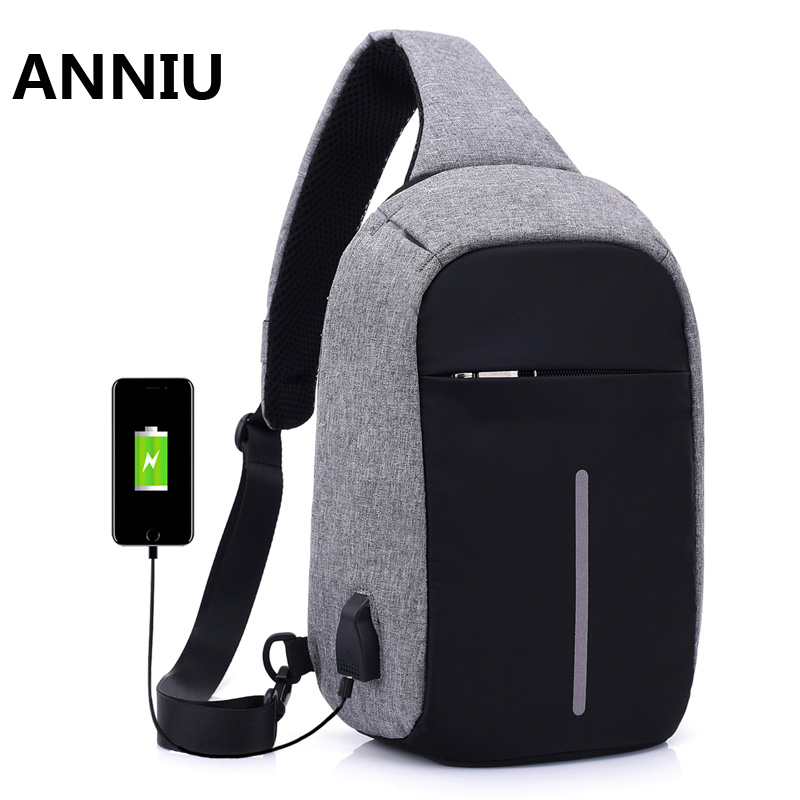 Men Messenger Bags Crossbody Slings Shoulder Chest Bags Anti-theft Strap Back Packs laday Casual External USB Charge Travel Bags