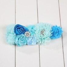 Атласные ленты горный хрусталь цветок пояса для детей платье аксессуары для детей Ремни для девочек голубой, бежевый и красный для девочек в цветочек пояс-кушак