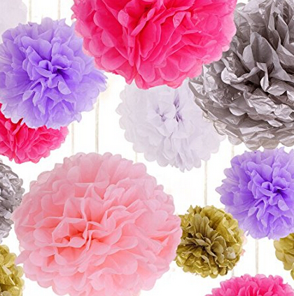 Tissue Paper Flowers Pom Poms Ball Blooms 8 10 14 Inches For