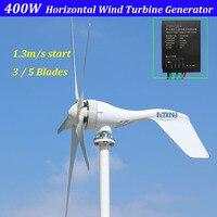 Novo micro gerador de turbina eólica 400w 12v 24v horizontal baixo nível de ruído com alta eficiência 3 lâminas ou 5 lâminas
