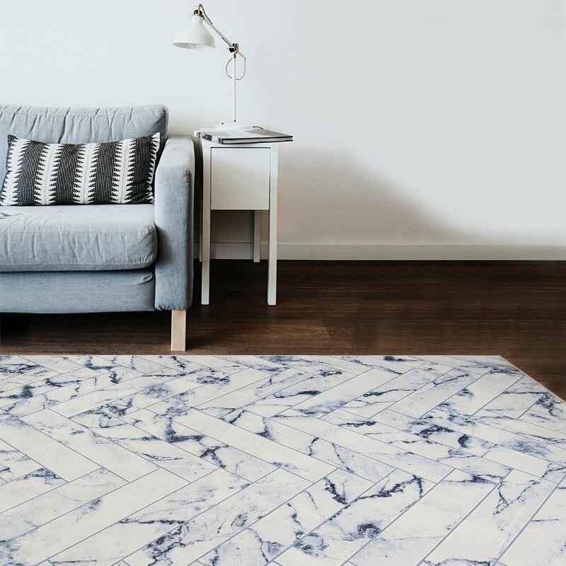 Tapis rayé marbré de style Simple, tapis de salon populaire INS, tapis de sol rectangle, tapis de décoration pastorale pour la maison