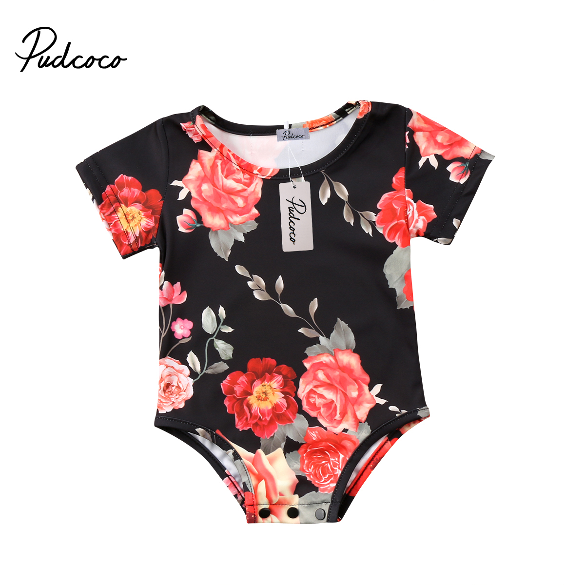 2018 Toddler Newborn Baby Girls Short Sleeve Floral Rompers Jumpsuit Playsuit One-Pieces Clothes Outfit Sunsuit