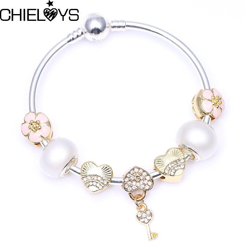 CHIELOYS Original Bracelet Gold Flower Charm Beads With Key Pendant Bracelets For Women Snake Chain Pandora Bracelet Gift