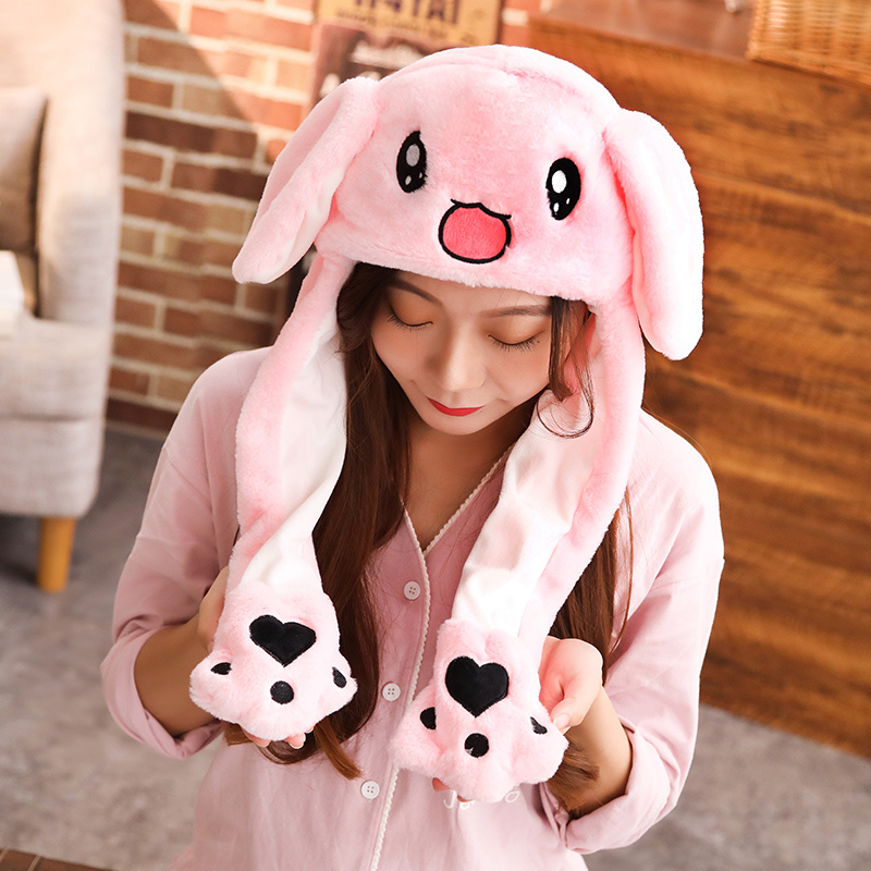 1pc 60cm Funny Rabbit Hat With Ears Moving Plush Toy Stuffed Soft Creative Hat Doll Cute Birthday Gift FOR Kids Gir