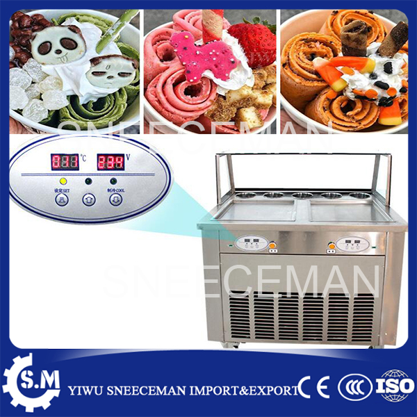 free shipping 220v/110v fried ice cream roll machine with 5 buckets double square pans rolled machine for sale promotion double big square pans with 11 topping tanks of fried ice cream roll machine free shipping by sea