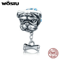 WOSTU High Quality 925 Sterling Silver Bulldog Beads Fit Original Pandora Charm Bracelet DIY Jewelry Gift