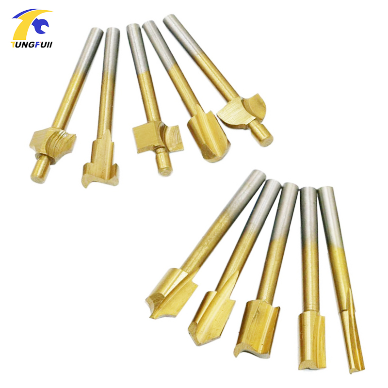 HSS Titanium Router Bits Wood Cutter Milling Fits Dremel Rotary Tool Engraving Machine Knife Sharpening Slot 10pcs Set Box 3mm 1 8 shank hss titanium router bits fit dremel foredom rotary tool set 10pcs