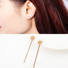 Triangle Stud Earrings Gold Silver Plated Round Beads Earring Metal Chain Tassel Charm Dangle Eardrop Women Ear Fashion Jewelry(China)