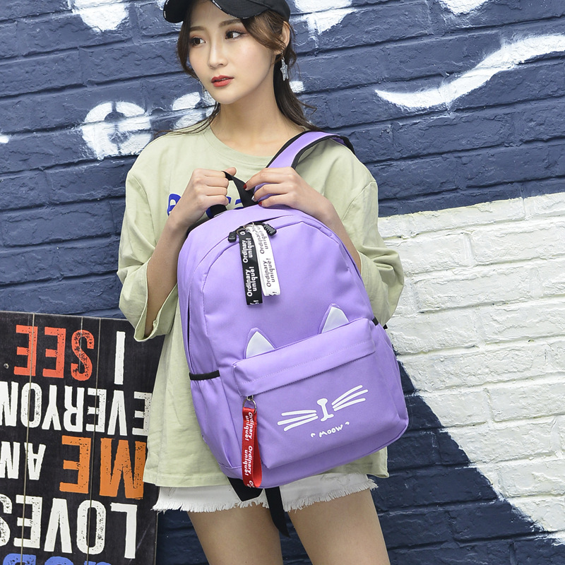 2019 Cute Cartoon School bags for Teenage Girls Nylon Backpack Schoolbag Women Famale Casual Teen student bookbag Cat Ears new