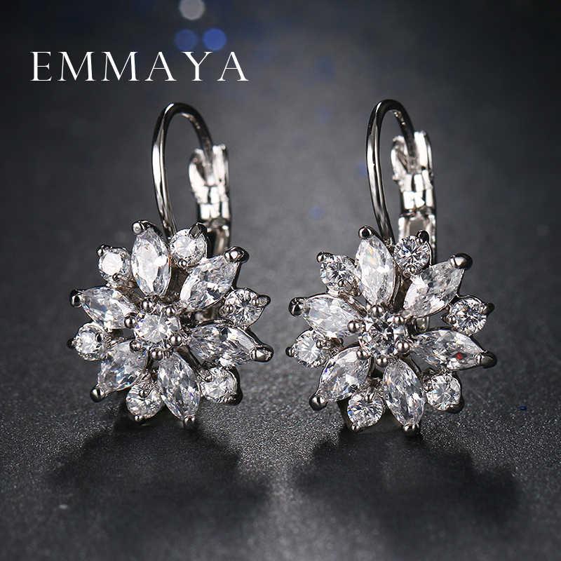Emmaya熱いトレンディ高級クリスタルフラワースタッドピアス女性新しいファッションエレガントなゴールドカラージルコンイヤリング