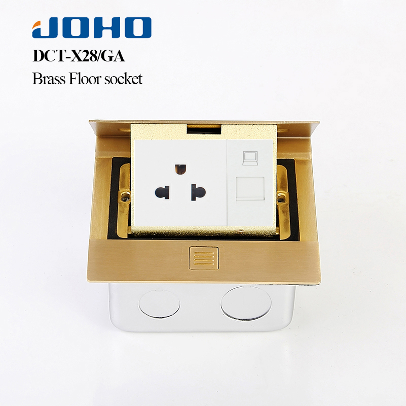 JOHO Slow 3 Hole Pop Up Floor Socket Box Brass Panel Home Appliances With 15A 125V US Socket RJ45 Computer Electrical Equipment brass slow pop up floor socket box with 15a 125v us socket rj45 computer data