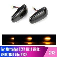 2 adet Led dinamik yan Marker dönüş sinyal ışığı sıralı flaşör işık Mercedes BENZ için W210 W202 W208 R170 Vito W638