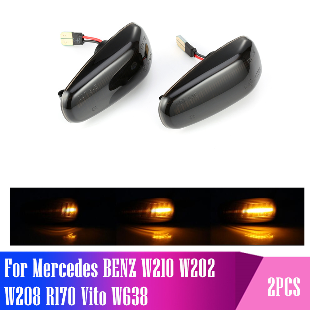 2 pieces <font><b>Led</b></font> Dynamic Side Marker Turn Signal Light Sequential Blinker Light For Mercedes BENZ W210 <font><b>W202</b></font> W208 R170 Vito W638 image