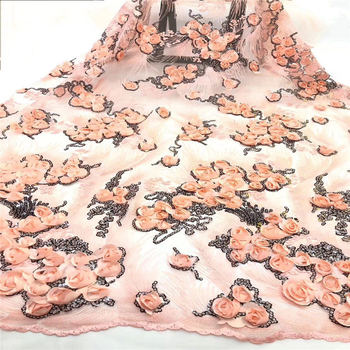 Latest French Lace Fabric 2019 High Quality Peach Gold Wedding African Lace Fabric With Sequins 3d Lace Fabric For Nigerian Lace