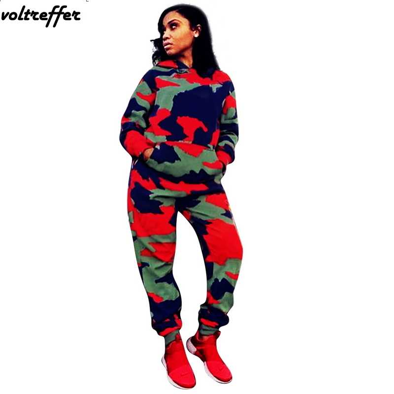 ef262c3925de Oversized Tracksuit For Women Camouflage Print Two Piece Set Sweatsuit  Moleton Feminino Loose Hoodies 2 Pieces