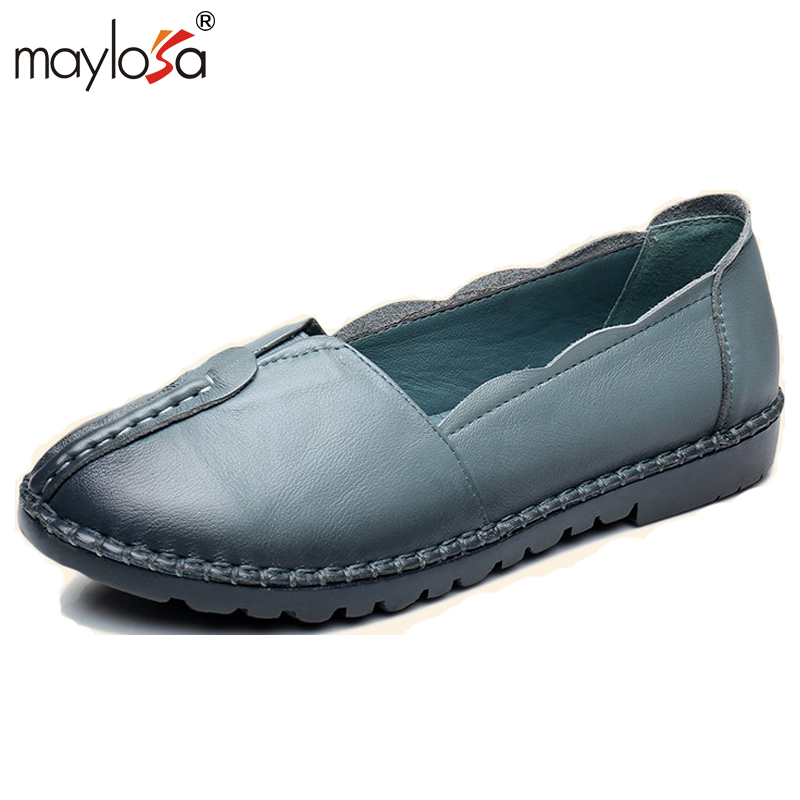 MAYLOSA  women genuine leather flats Brand  casual shoes woman Handmade Loafers soft non-slip women shoes plus size 41