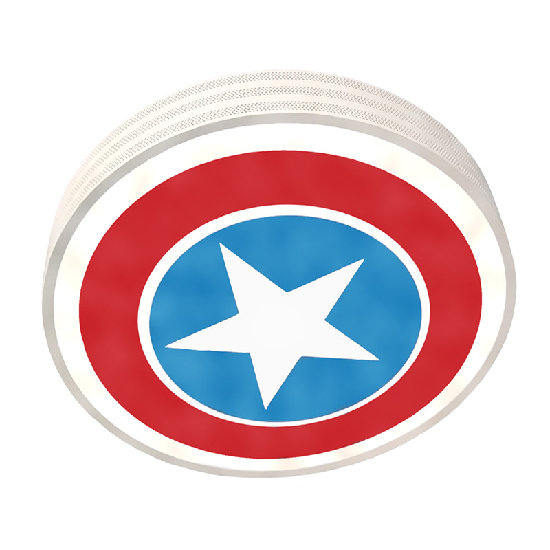 Hollow Out Metal Design Captain American Star Acrylic Lampshade Round Led Ceiling Lamp Light Children Kids Room Bedroom Lighting