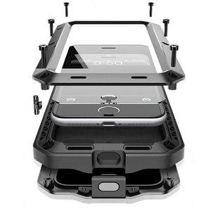 Image 2 - עמיד למים עמיד הלם טלפון מקרי iphone7 7p 6 6s 5 5S 5SE 4S מתכת אלומיניום כפול להגן על מוקשח מקרה כיסוי + מזג זכוכית