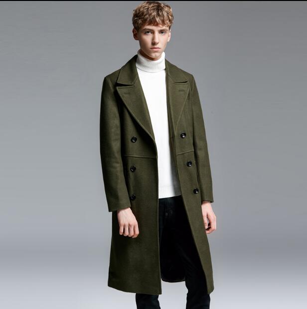 S Kleidung Woll Marke Männlichen Zweireiher Wolle Mode Lange armee Mantel grün Männer Plus Dünne Der 6xl Schwarzes grau Beiläufige Kostüme Größe rpIr6