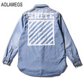 Aolamegs Denim Shirts Men Casual Shirt Long Sleeve Denim Blue Shirts Striped Print Fashion Slim Fit Camisa Jeans Masculina M-XL