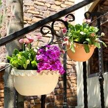 Design moderne mur en plastique suspendus panier bassin pot de fleurs Halft forme ronde plante Vase balcon jardin décor à la maison artisanat cadeau chaud