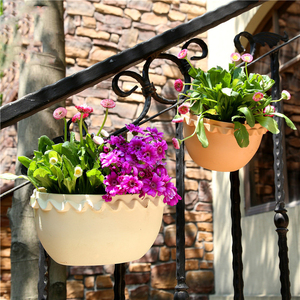 Image 1 - Modern Design Wall Plastic Hanging Basket Basin Flowerpot Halft Round Shape Plant Vase Balcony Garden Home Decor Craft Gift Hot