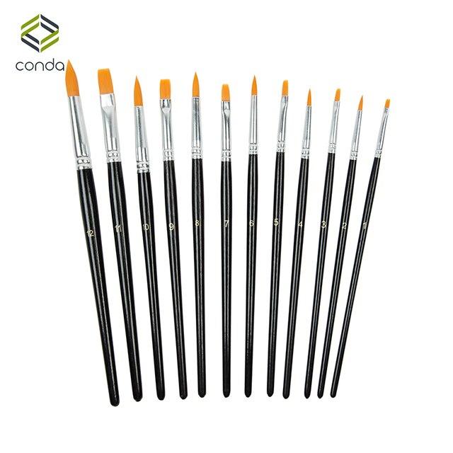 Conda 12 unids/set juego de pinceles de nailon para el cabello pincel de artista pintura al óleo acrílica acuarela suministros de arte dibujo negro cepillo de agua