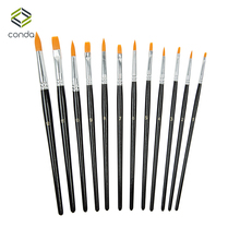 Conda 12pcs/set Nylon Hair Paint Brush Set Artist Brush Watercolor Acrylic Oil Painting Art Supplies Black Drawing Water Brush
