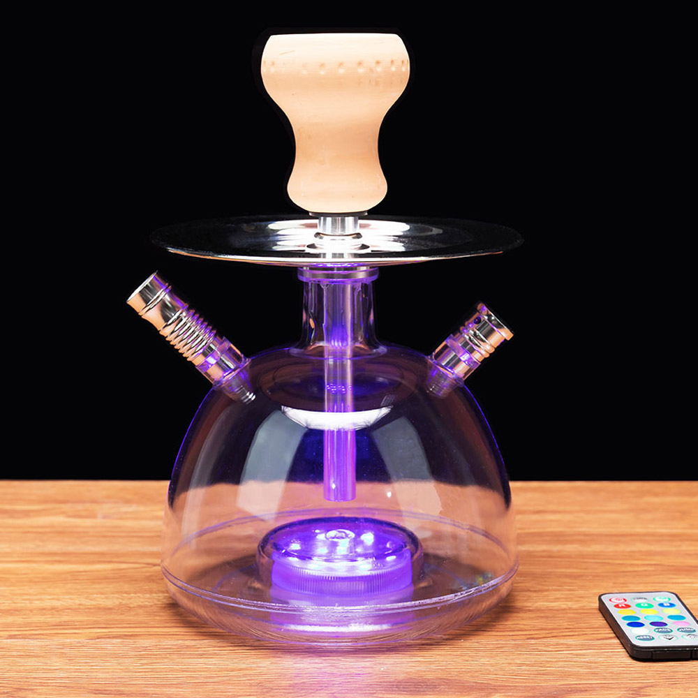 Acrylic Shisha Hookah Set with LED Light Hose Charcoal Holder Metal Tongs Cachimbas Narguile Pipes Water Smoking Accessories 67C
