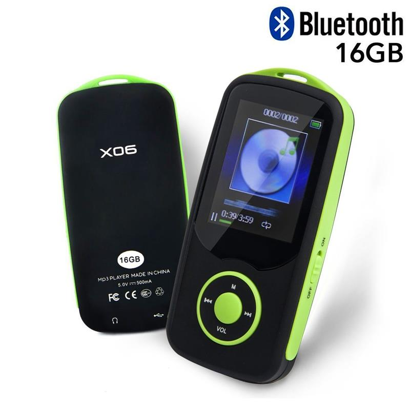 RUIZU X06 Bluetooth MP3 Player 16GB Sport Player With 1.8Inch Screen 70 Hours High Quality lossless Music Player FM Radio