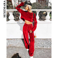 SEXEMARA Red Velvet Casual Two Piece Set Top and Pants Autumn Winter Outfits Velour Sweat Suits Tracksuit Matching Sets C87BA50