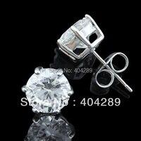 18k White Gold GP Cubic Zirconia Stone Stud Earrings 6 8mm