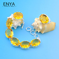 Dazzling Yellow Crystal Silver Plated Bracelet & Ring Jewelry Sets For Women Attractive popular Bijoux Sets