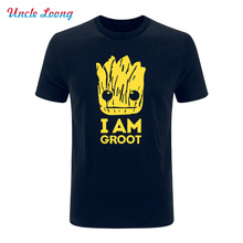 2017 Summer New Printed Guardians of the Galaxy T Shirt Men Short Sleeve Cotton I Am