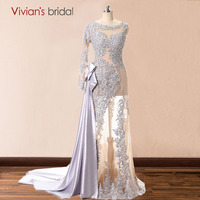 One Shoulder Long Sleeve Lace Mermaid Evening Dresses Tulle Satin Sequin Beaded Formal Evening Gowns Dresses