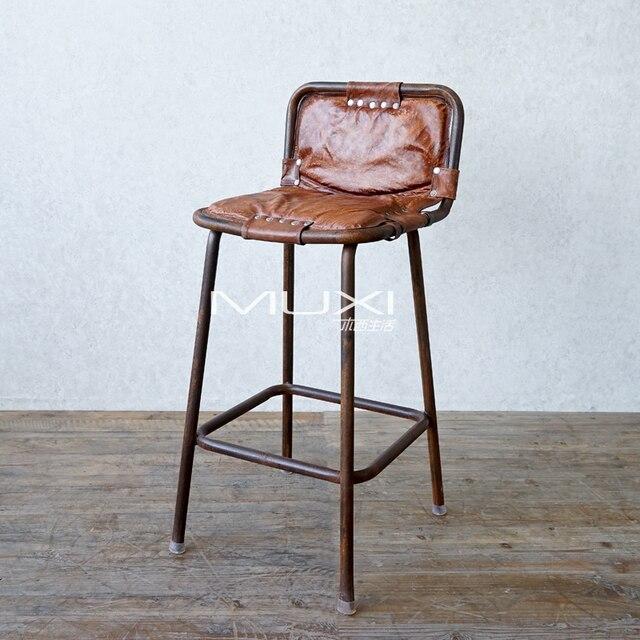 India Imported Wood Western Life Back Leather Bar Stool