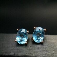 Almei натуральный серьги с аквамарином для Для женщин, 925 пробы серебро, 5*7 мм* 2 предмета камень для родившихся в марте драгоценный камень вечерние ювелирные изделия FR110