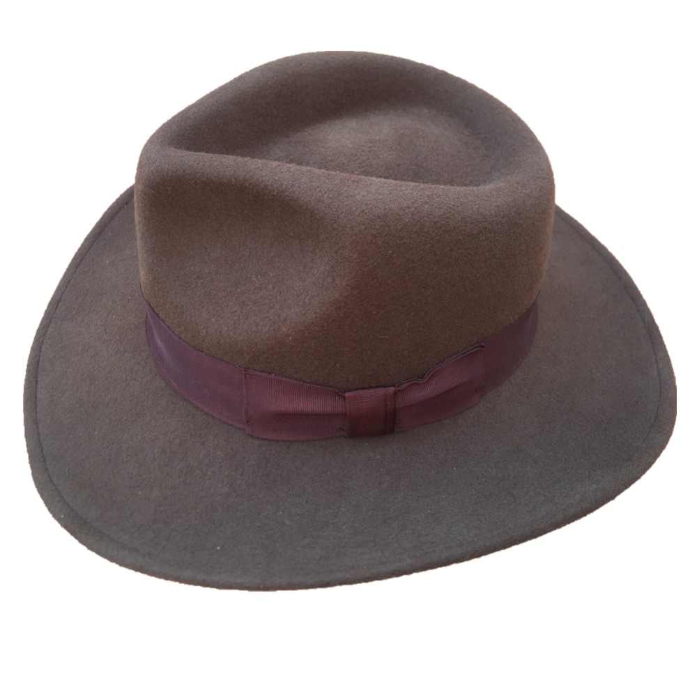 9b76fc7fe Wool Felt Brown Fur Crushable Cowboy Fedora Hats Indiana Jones Outback Hat