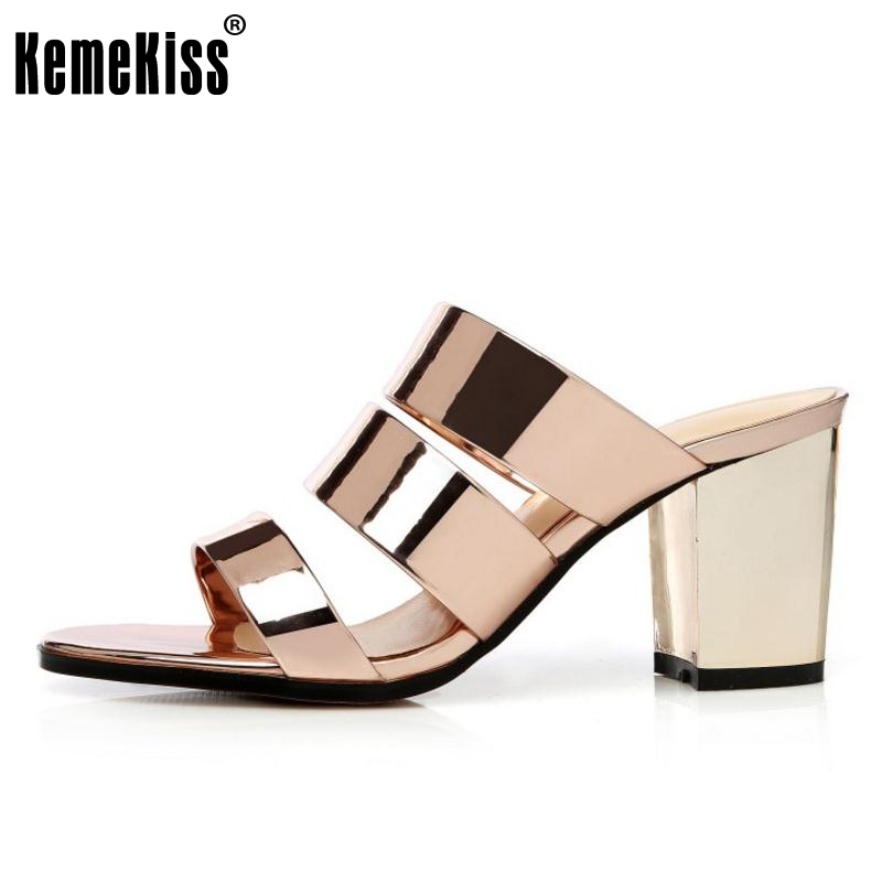 KemeKiss Size 34-43 Lady High Heel Sandals Open Toe Slipper Summer Shoes Women Thick Heels Sandal Beach Party Female Footwears plus size 34 43 new 2017 summer women sandals fashion thick high heels party shoes t strap rome style ladies beach shoes