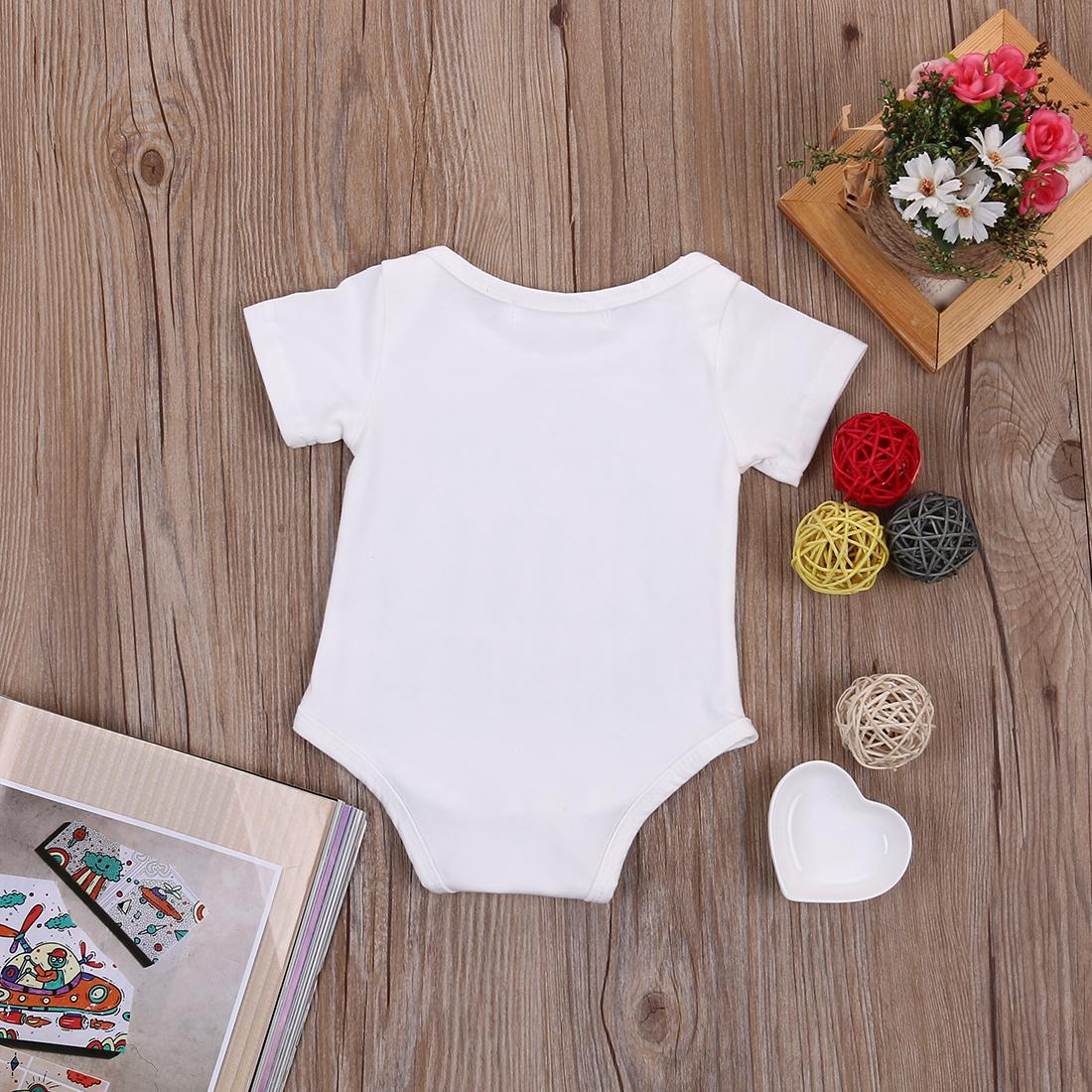 Summer 17 Newborn Kids Baby Girl Boy Clothes Quote Bodysuit Jumpsuit Playsuit Outfit Set 6