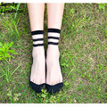 Women Summer Sexy Transparent Crystal Silk Socks For Woman 2016 Female Elastic Nylon Skin Short Socks Korean Style Pattern 003