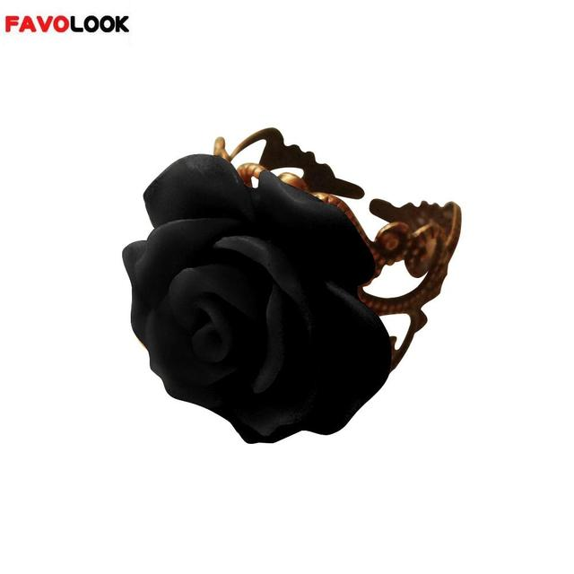 New Arrival Colorful Resin Rose Hollow Out Flower Ring Opening Resizable Gothic