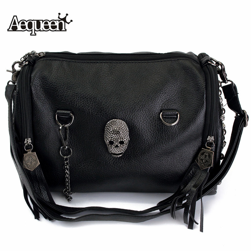 b4cdae70b AEQUEEN 2018 Women Bag Skull Studded Handbag High Quality Motorcycle  Crossbody Bags Rivet Large Shoulder Bag Punk Bolsa Female-in Shoulder Bags  from Luggage ...