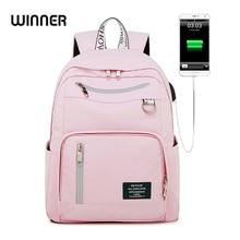 Vencedor nova impressão a cores sólidas carregamento usb mochila feminina anti roubo viagem bagpack portátil mochila escolar para adolescentes