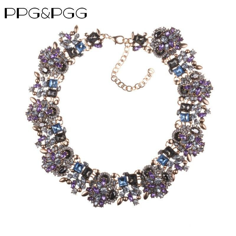 PPG & PGG Monili di Modo Delle Donne Di Lusso Strass Collare Viola di Cristallo Bib Choker Dichiarazione Pendenti delle Collane