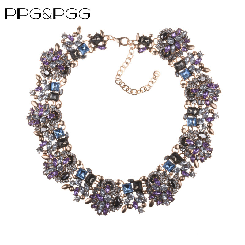 PPG & PGG Mode Smycken Kvinnor Luxury Rhinestone Collar Lila Crystal Bib Choker Statement Halsband Pendants