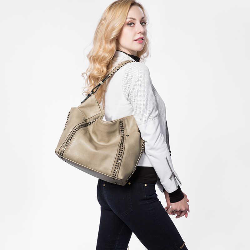 REALER torebki damskie z nitami, damskie duże torby na ramię damskie torby na ramię crossbody, modne brązowe torebki i torebki